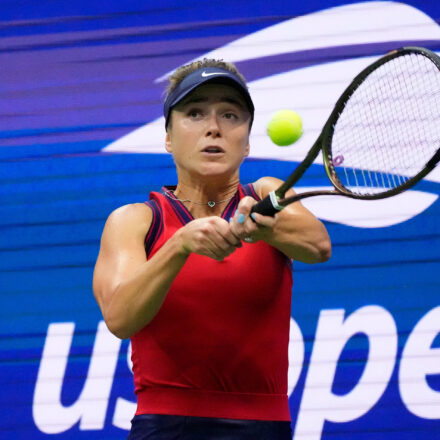 Sep 5, 2021; Flushing, NY, USA; Elina Svitolina the Ukraine returns a shot against Simona Halep (not pictured) of Romania on day seven of the 2021 U.S. Open tennis tournament at USTA Billie Jean King National Tennis Center. Mandatory Credit: Robert Deutsch-USA TODAY Sports